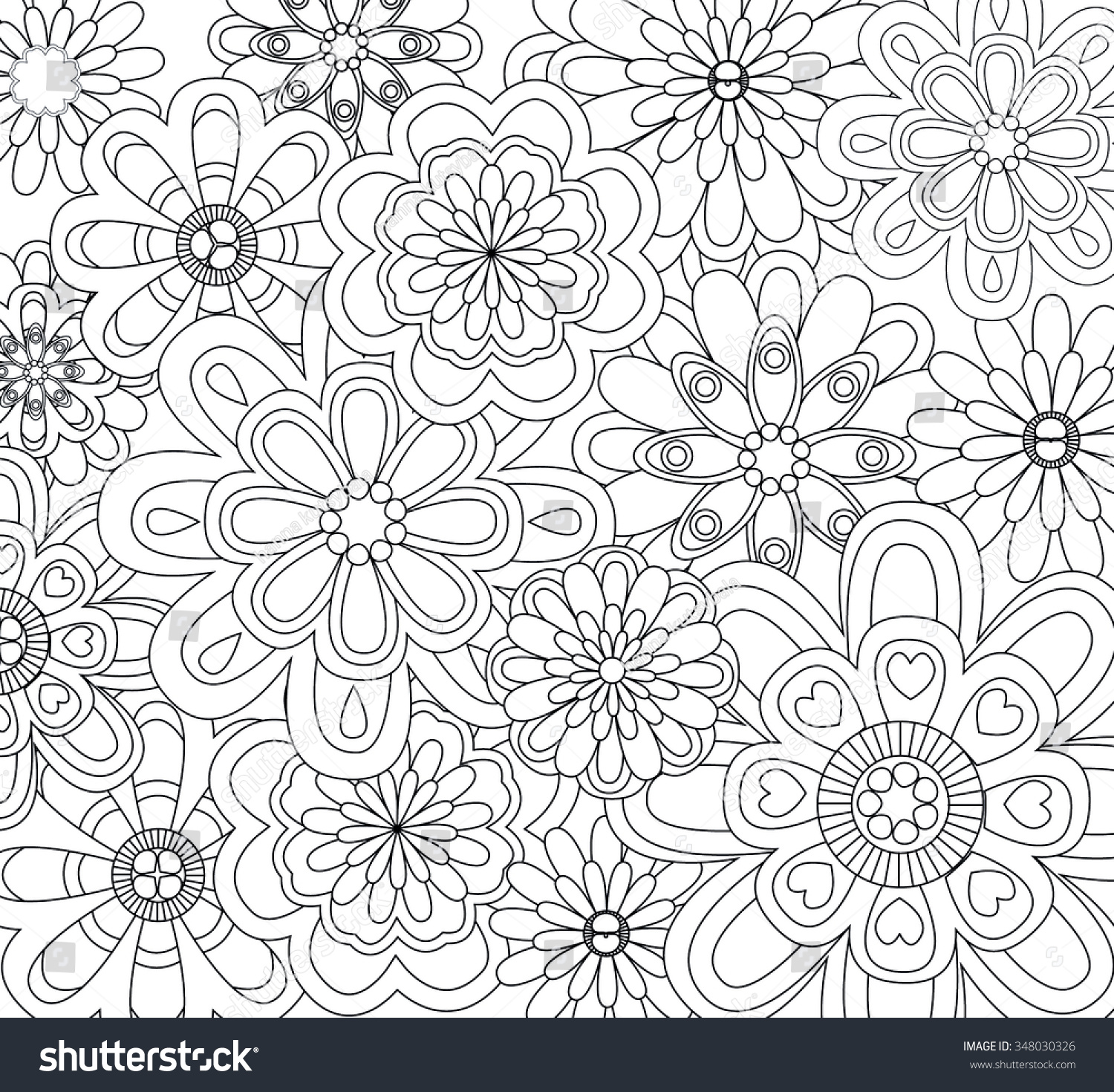 Coloring Pages Background Coloring Pages hand drawn flower background isolated on stock vector 348030326 white anti stress coloring page monochrome sketch