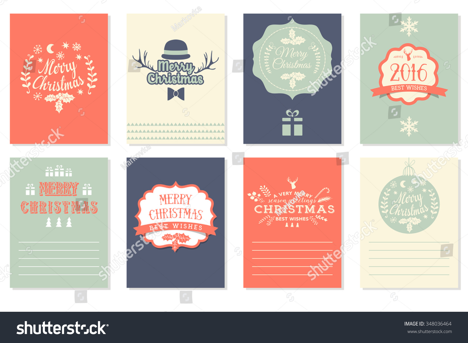 collection of 8 christmas cards merry christmas happy new year labels vector illustration