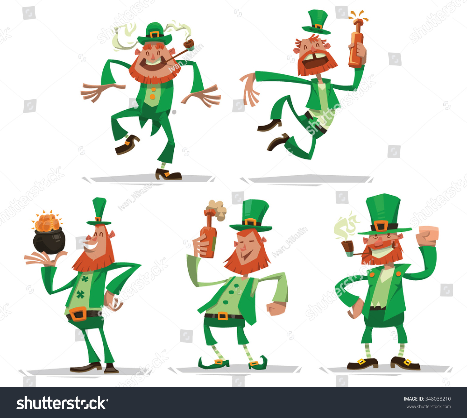 Uncategorized All About Leprechauns set funny leprechauns red beards green stock vector 348038210 of with in clothes and top hats someone holding