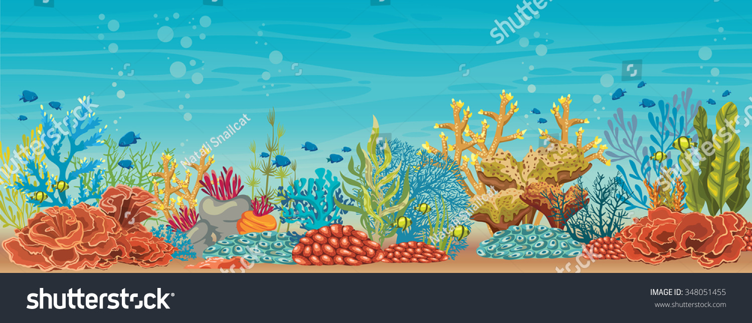 cartoon colorful coral reef fish on stock vector royalty free