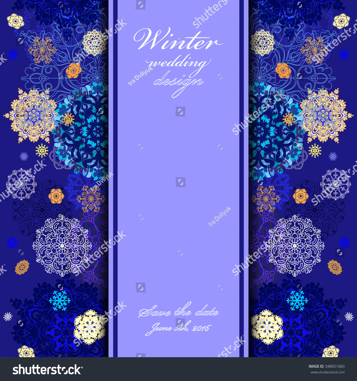Background image vertical center - Winter Abstract Design With Gold Blue And White Snowflakes And Stars And Dark Blue Background