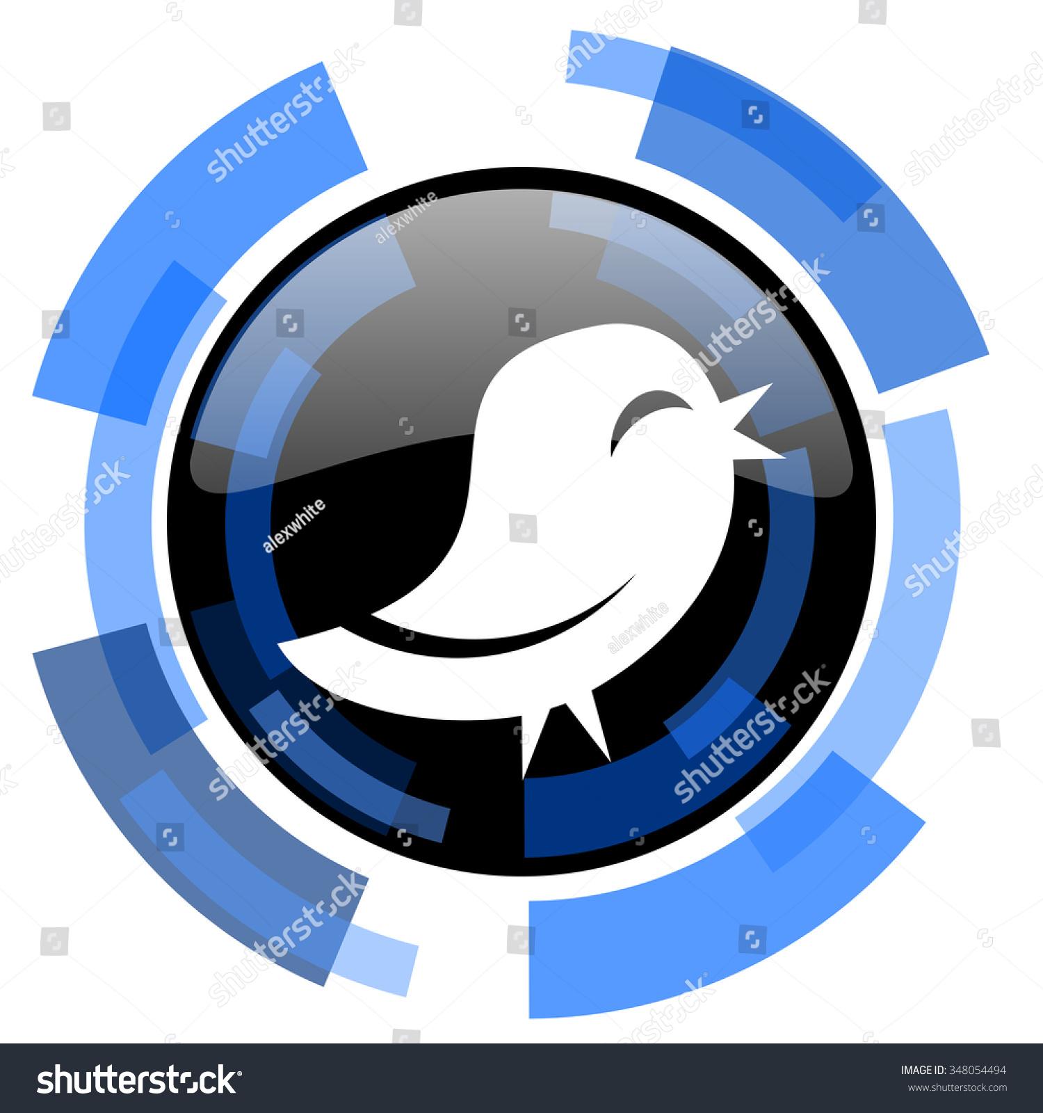 Twitter Black Blue Glossy Web Icon Stock Illustration