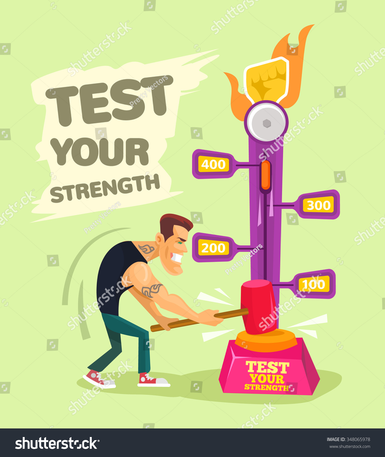 test your strength vector flat illustration stock vector  test your strength vector flat illustration