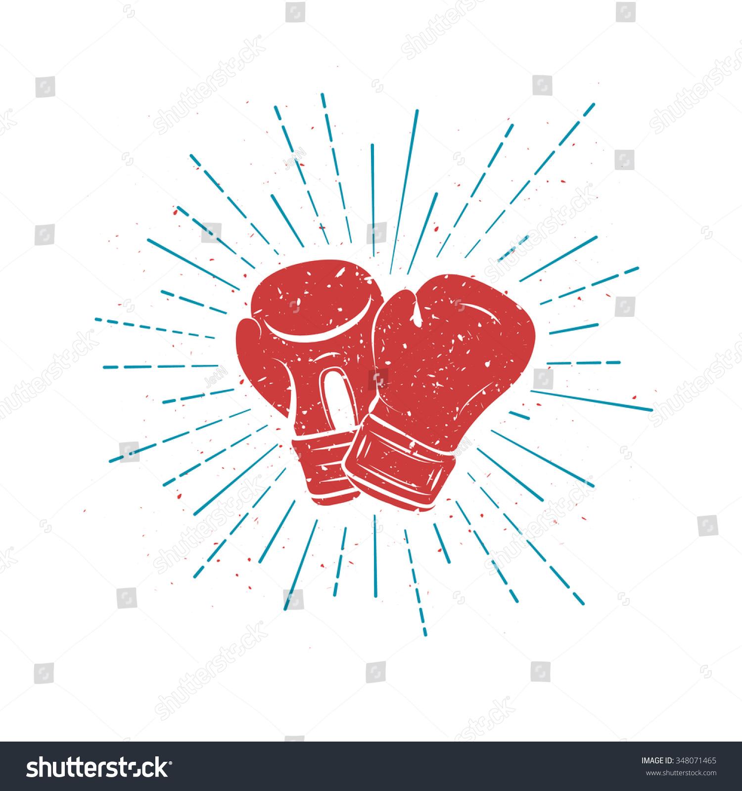 vintage red boxing gloves blue rays stock illustration 348071465