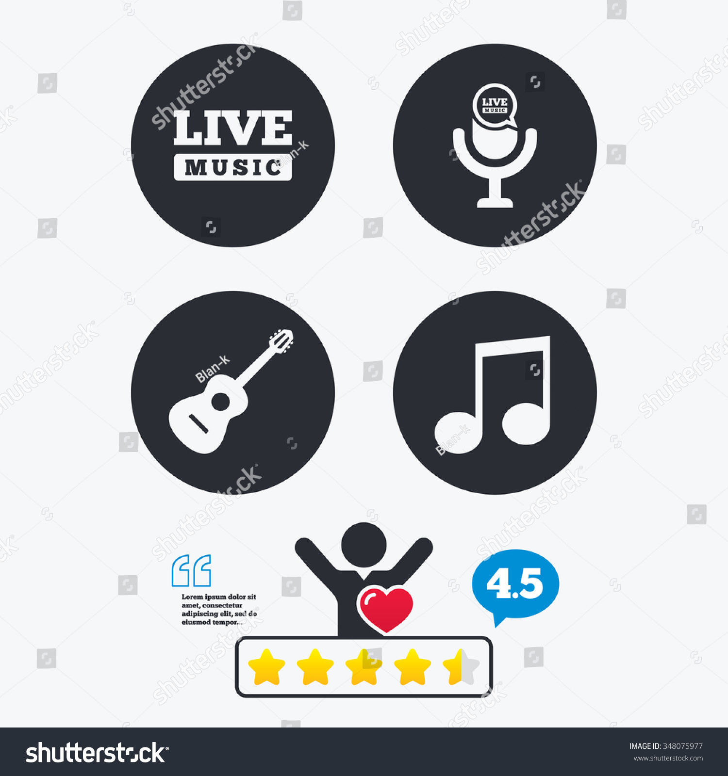 Musical elements icons microphone live music stock vector musical elements icons microphone and live music symbols music note and acoustic guitar signs buycottarizona