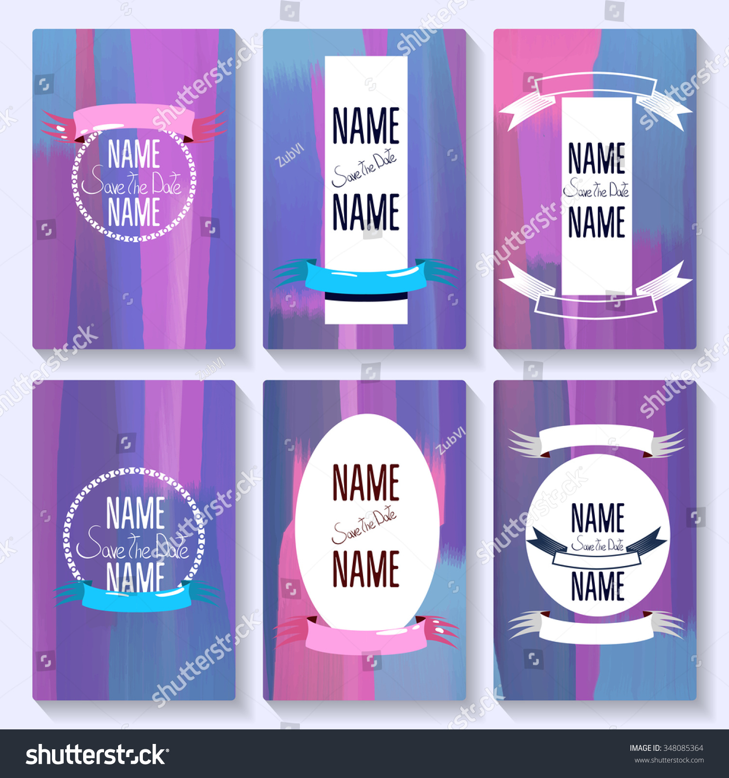 Set Card Save Date Templates Party Stock Vector (Royalty Free ...