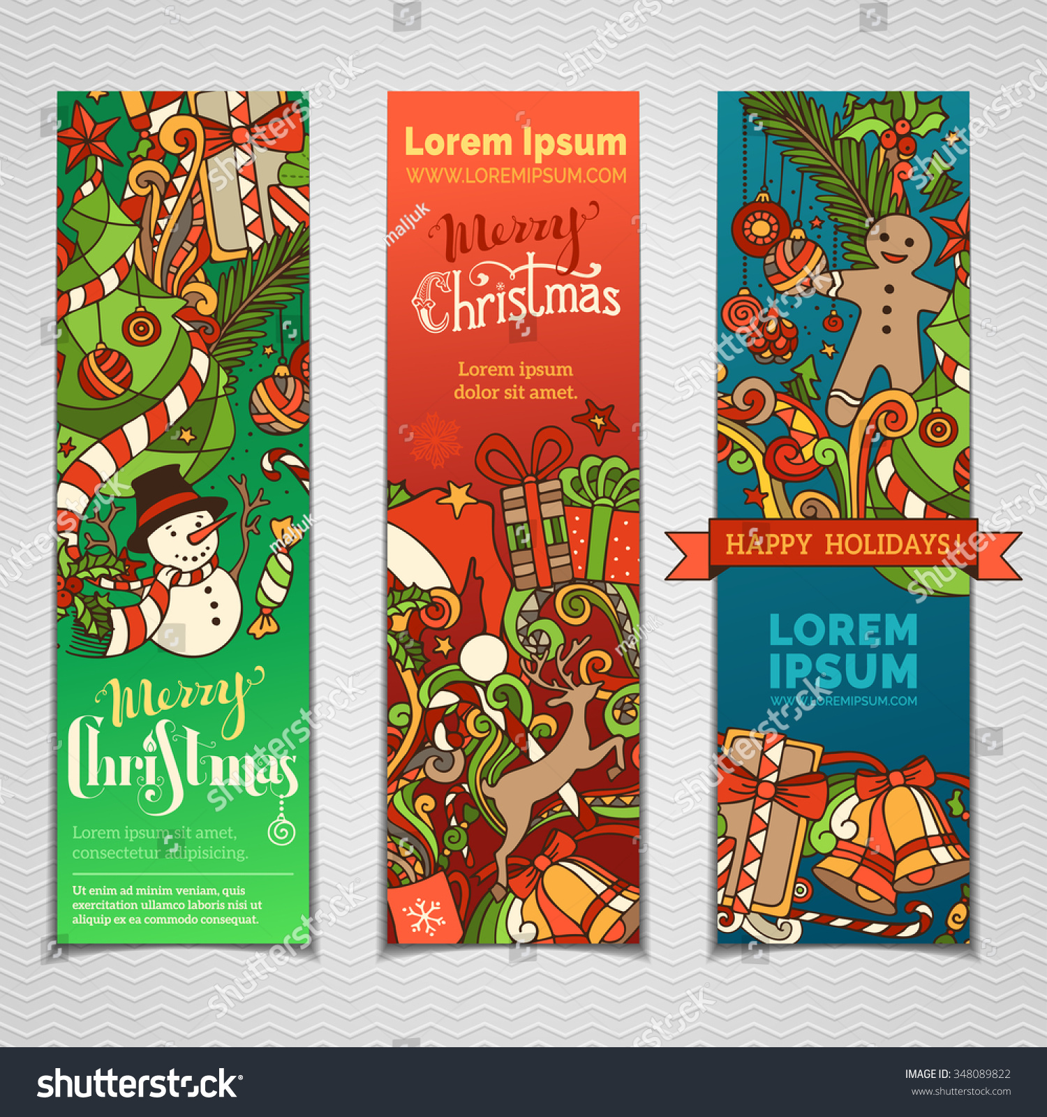 vector set colourful christmas banners three stock vector