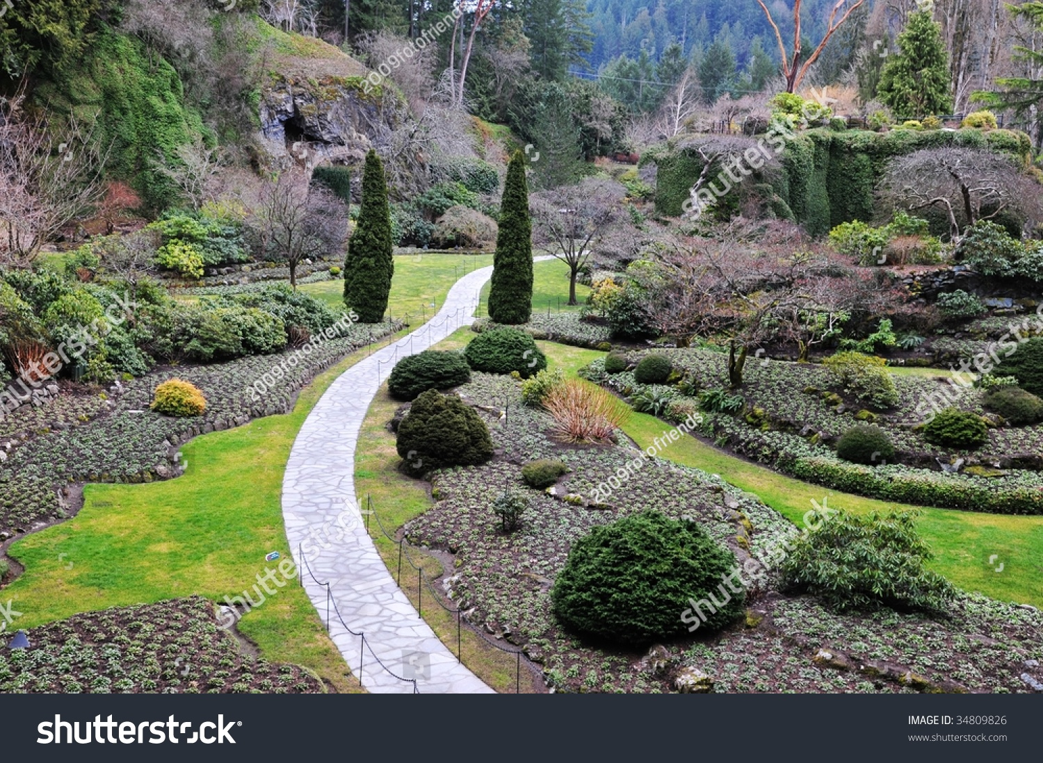 Winter look sunken garden inside historic stock photo for Gardening tools victoria bc