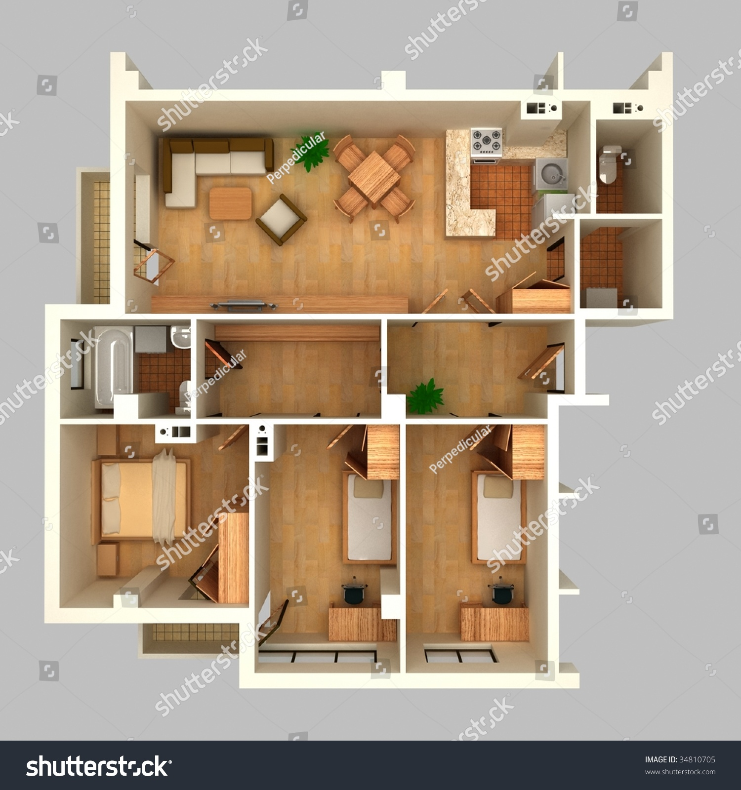 Floor Plan Perspective View Stock Illustration Shutterstock