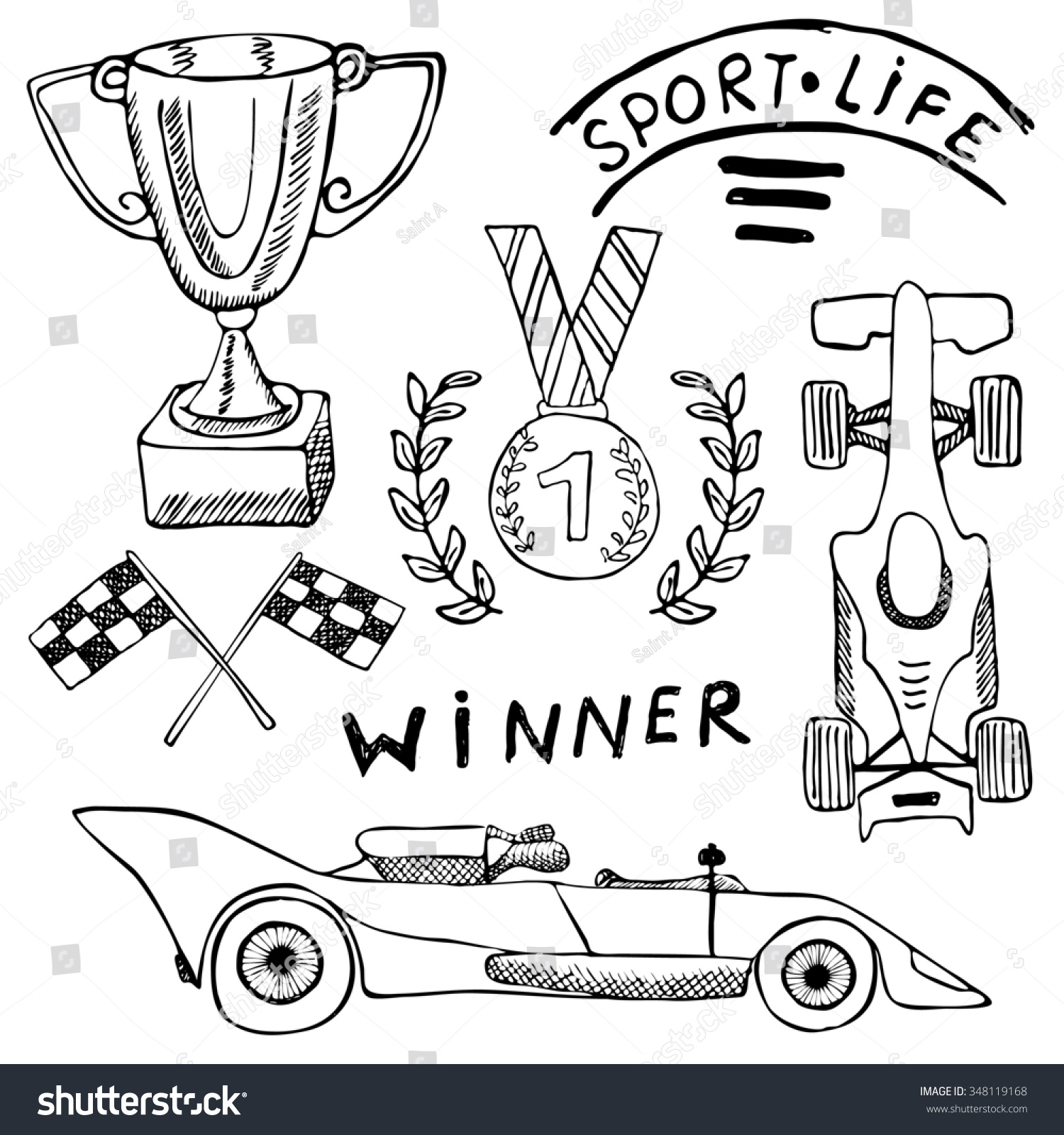 royalty free stock illustration of sport auto items doodles elements Vehicle Entertainment System sport auto items doodles elements hand drawn set with flag icon checkered or racing