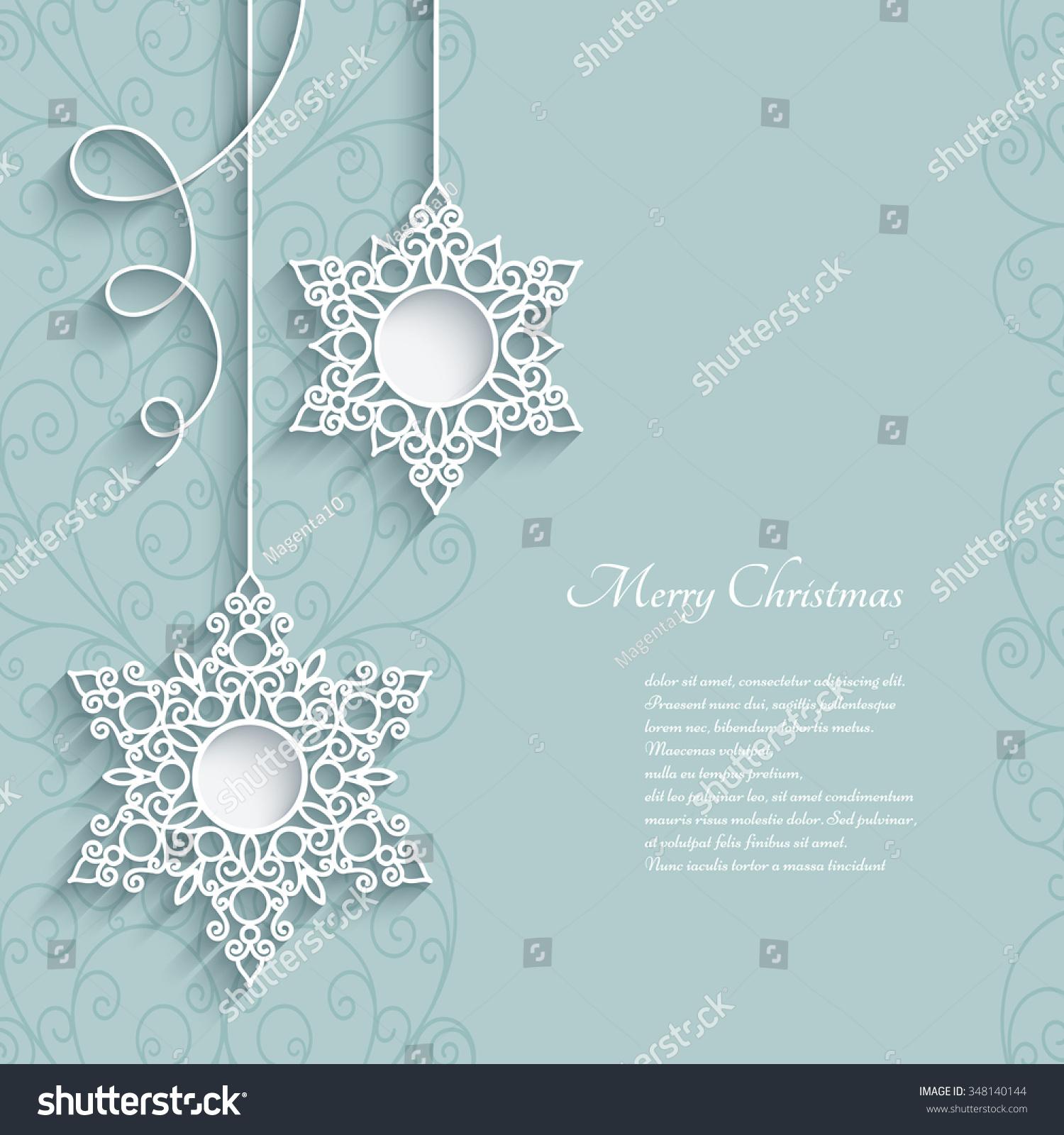 Elegant And Neutral Christmas Foyer: Elegant Lace Pendants On Neutral Background, Snowflakes