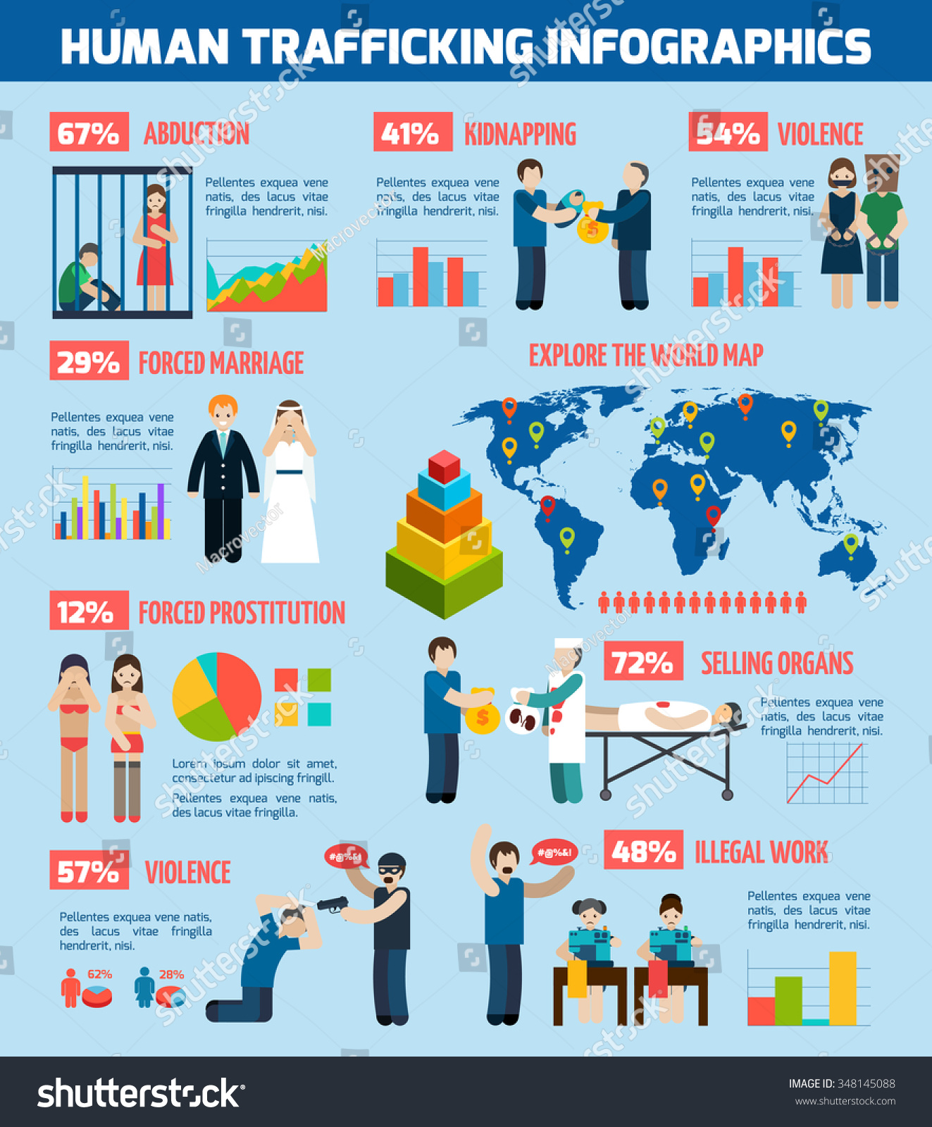Global Infographic Report On Human Trafficking Stock Vector ...