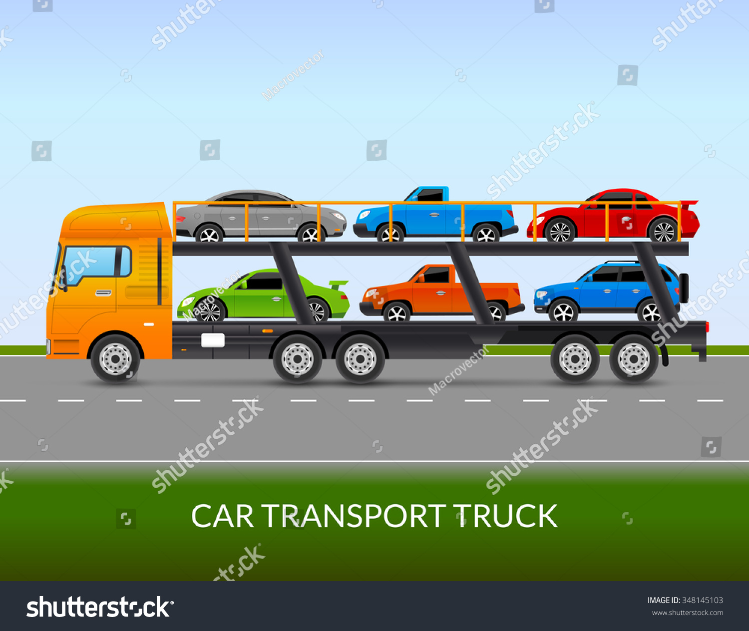 Car Transport Truck On Road Different Stock Vector
