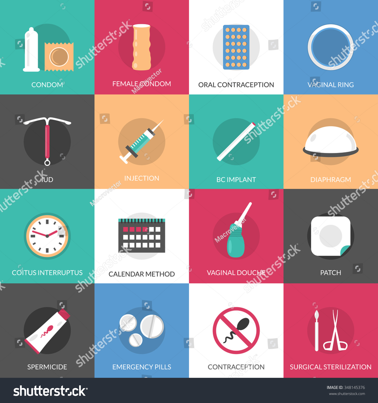 Calendar Method Illustration : Contraception methods square icons set calendar stock