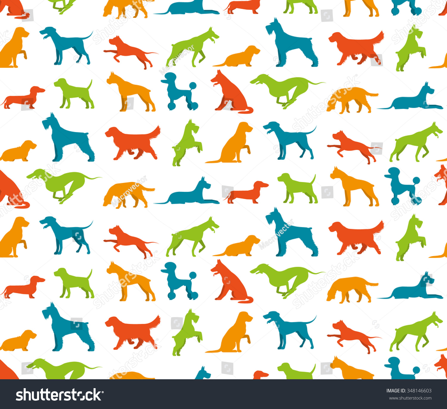 Dog Seamless Pattern Flat Pet Breeds Stock Vector