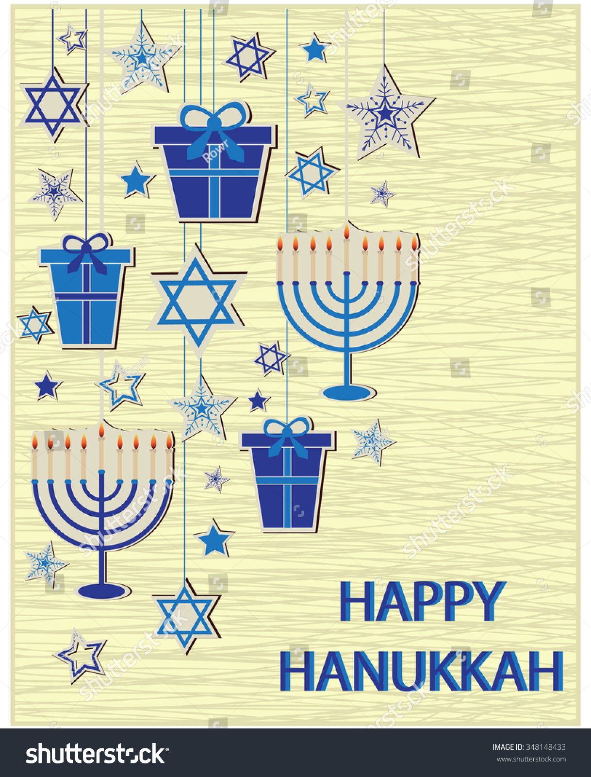 Happy Hanukkah Greeting Card Vector Illustration Stock Vector