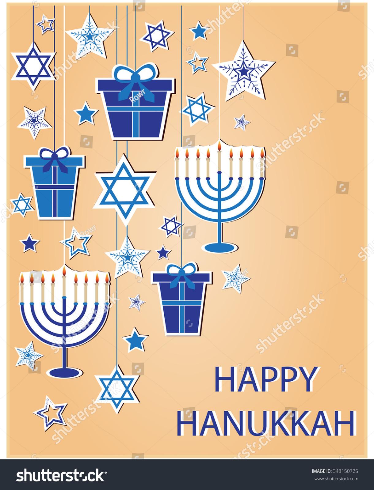 Happy Hanukkah Greeting Card Vector Lllustration Stock Vector
