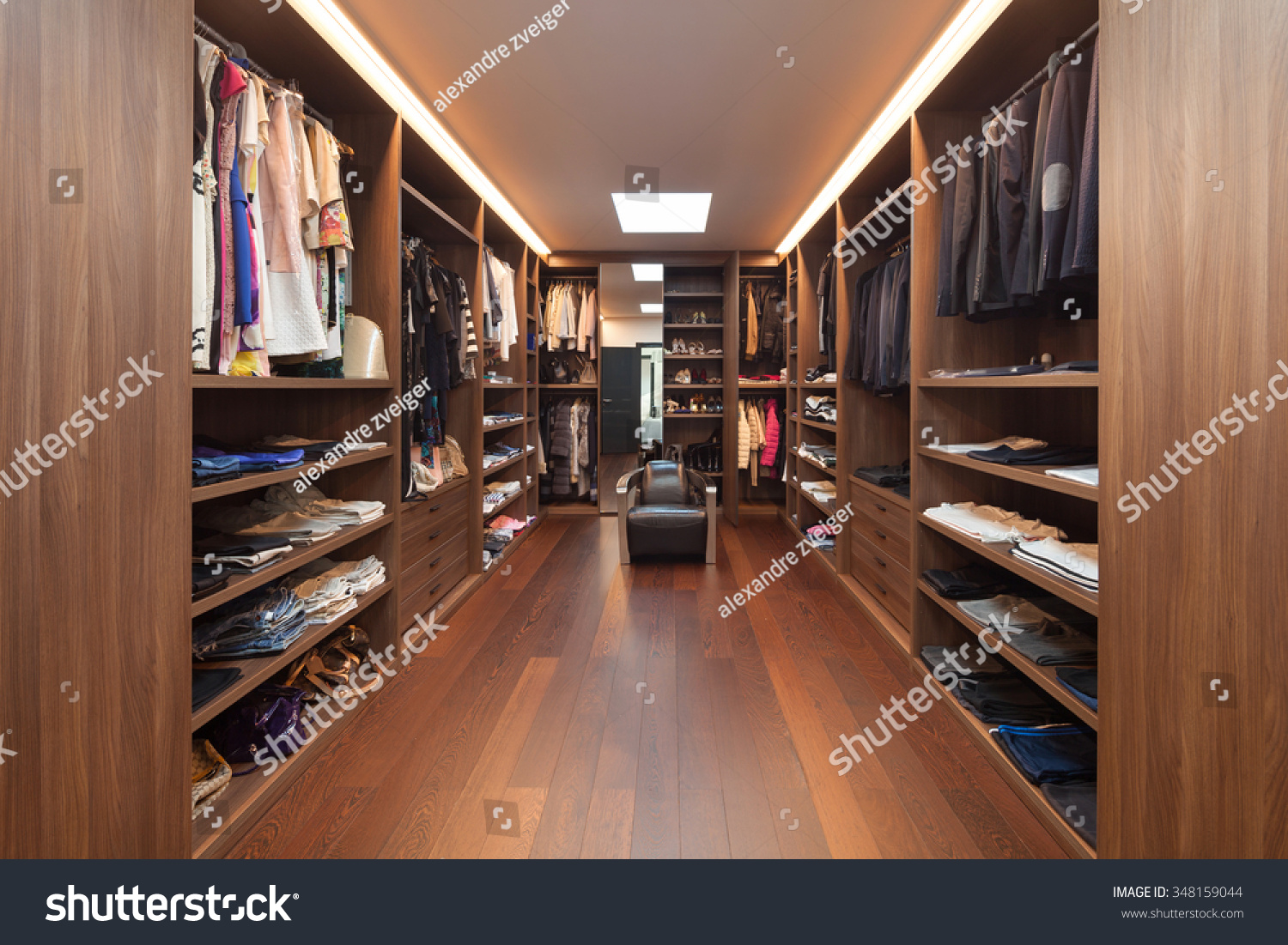 Wide dressing room interior of a modern house stock photo for Dressing room interior