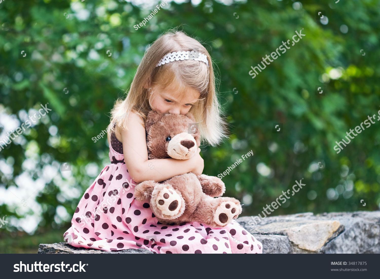 Adorable Little Girl Giving Her Teddy Stock Photo 34817875 -2141