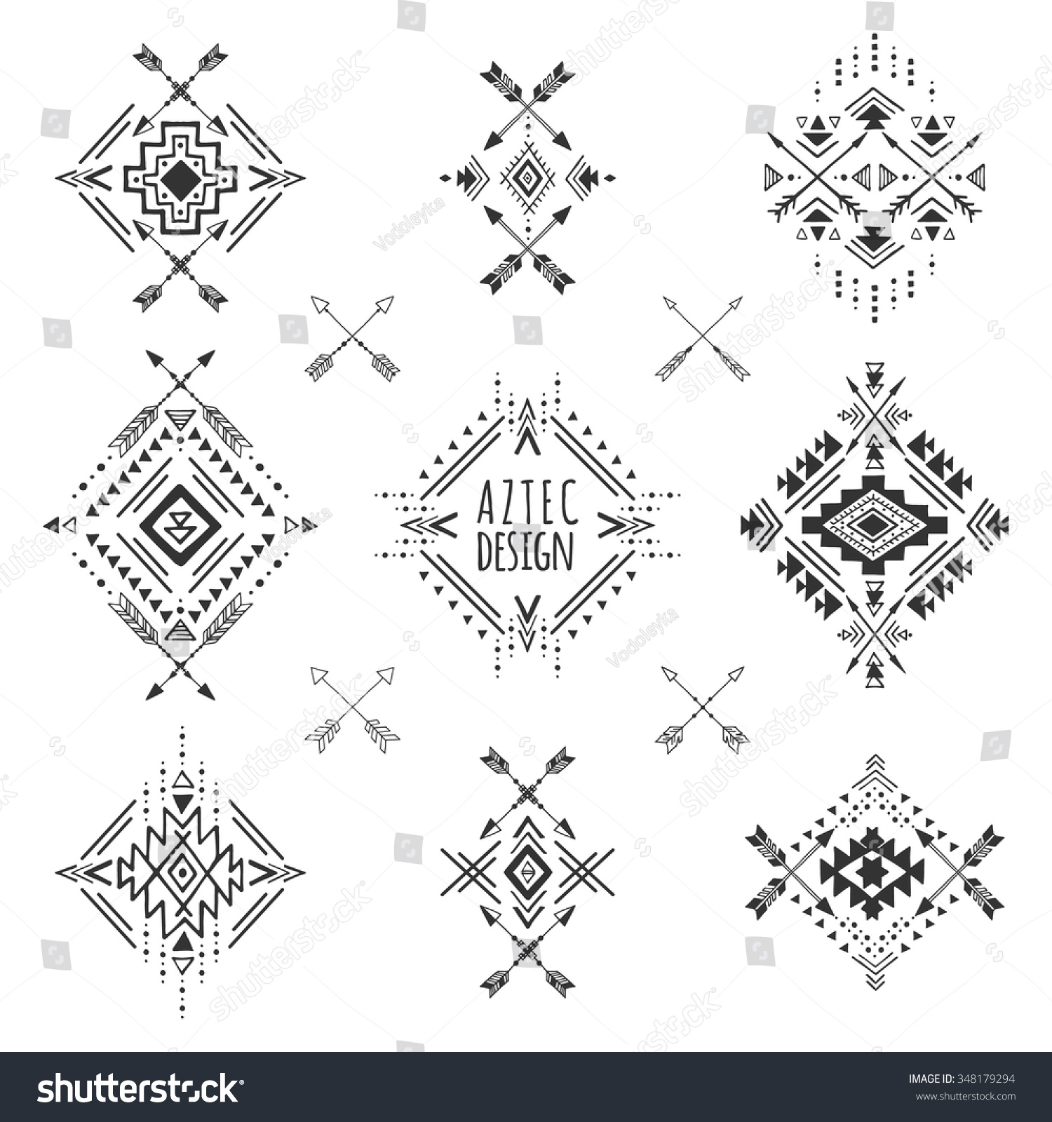 aztec elements tribal geometric symbols tattoos stock vector 348179294 shutterstock. Black Bedroom Furniture Sets. Home Design Ideas