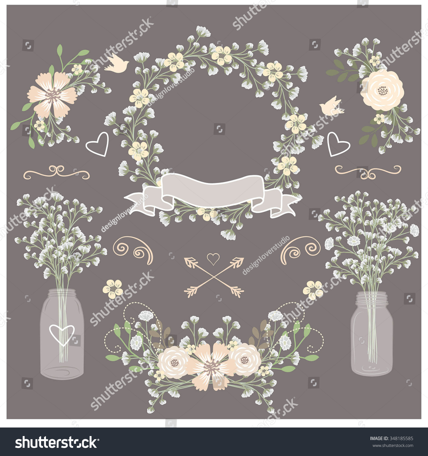2 mason jar wedding invitations Mason Jar Wedding Invitation Rustic Wedding Invitation Printable Spring Wedding Invitation