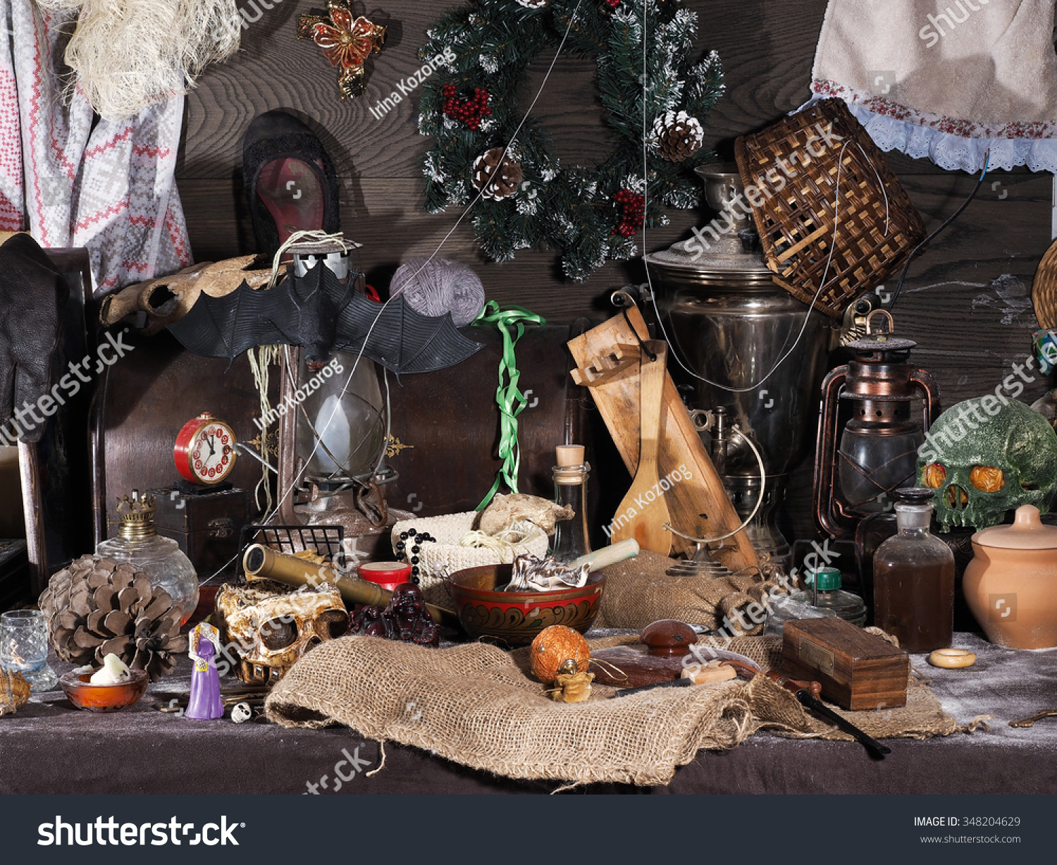 Brocken Used Toys : On dusty old attic many different stock photo