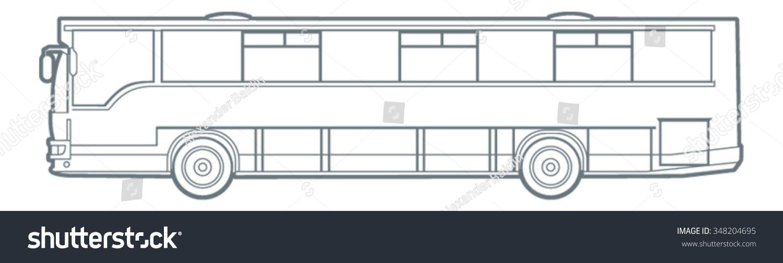 Outline Vector City Bus Stock Vector 348204695