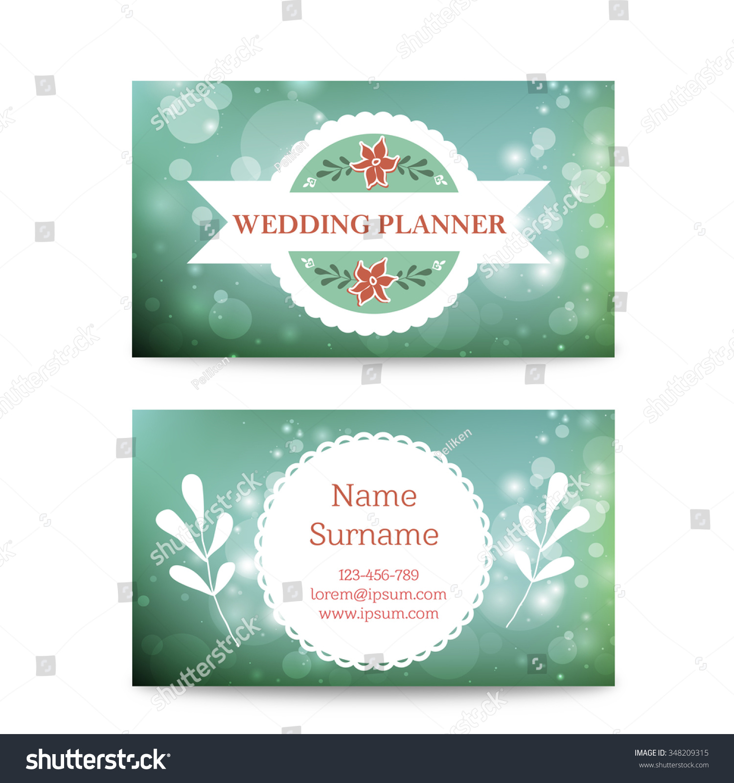 Vector Creative Mint Business Card Template Stock Vector - Wedding business card template