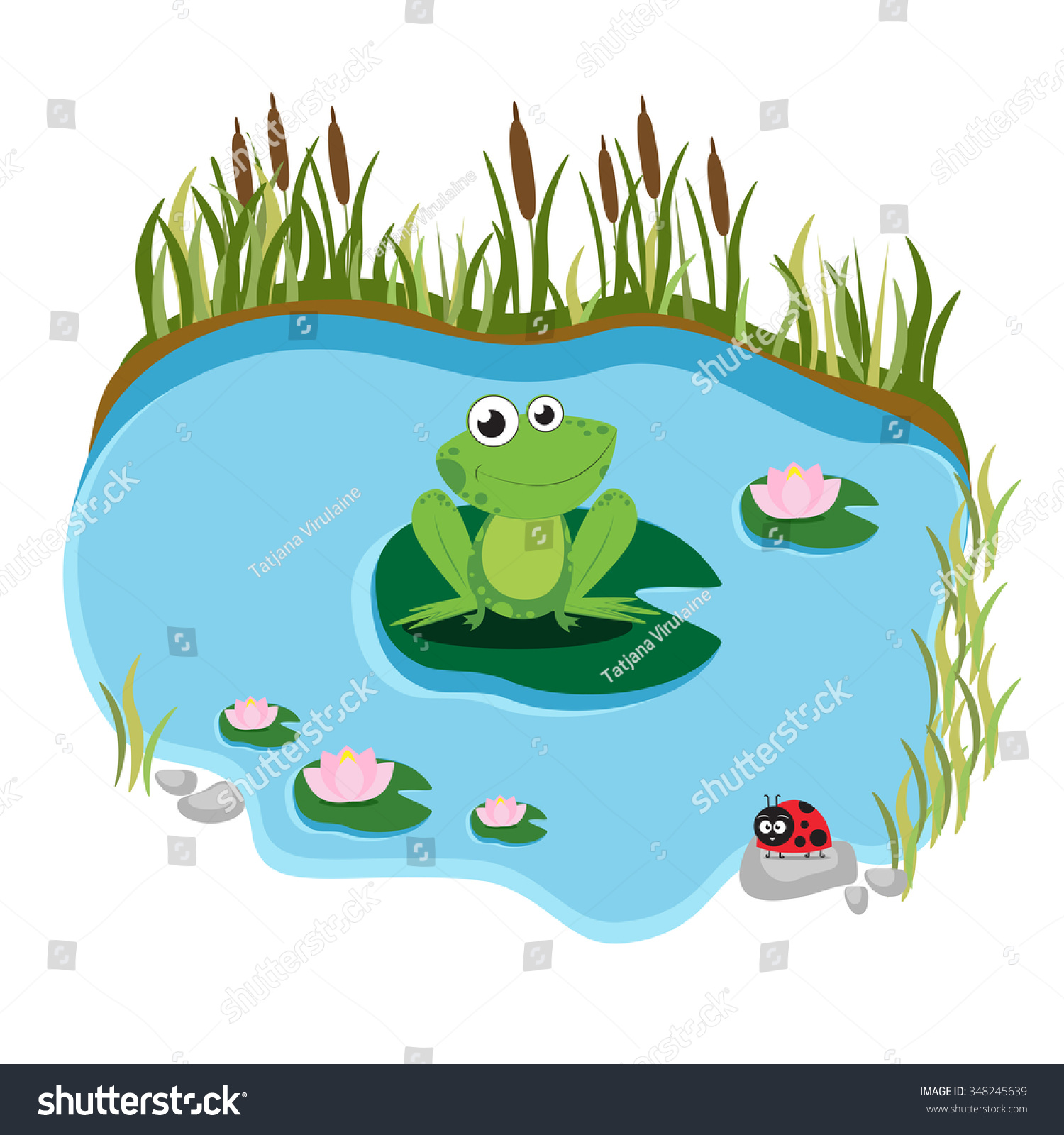 cartoon frog sitting on water lily stock vector 348245639