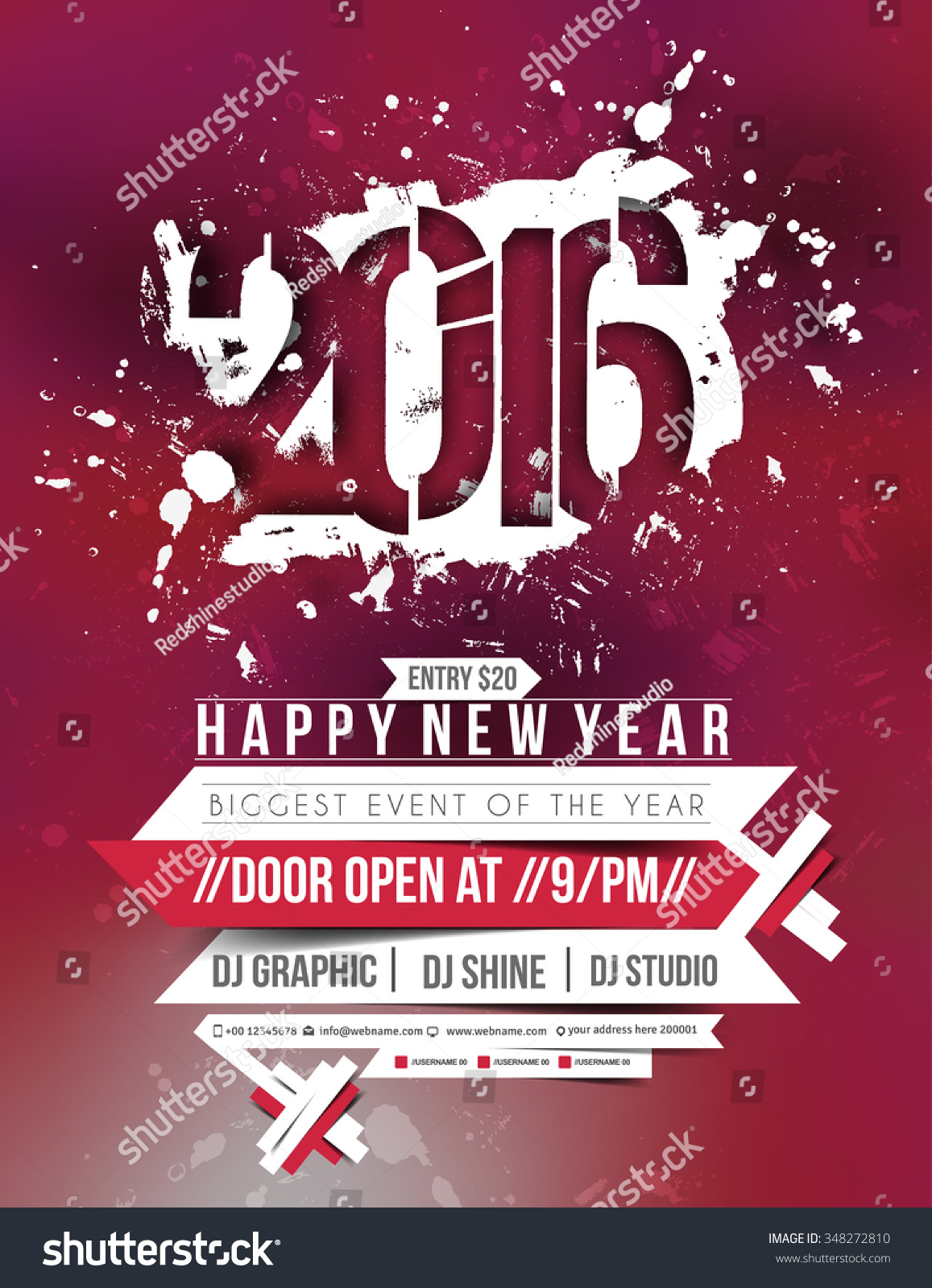 New Year Party Flyer Poster Template Vector 348272810 – New Year Poster Template