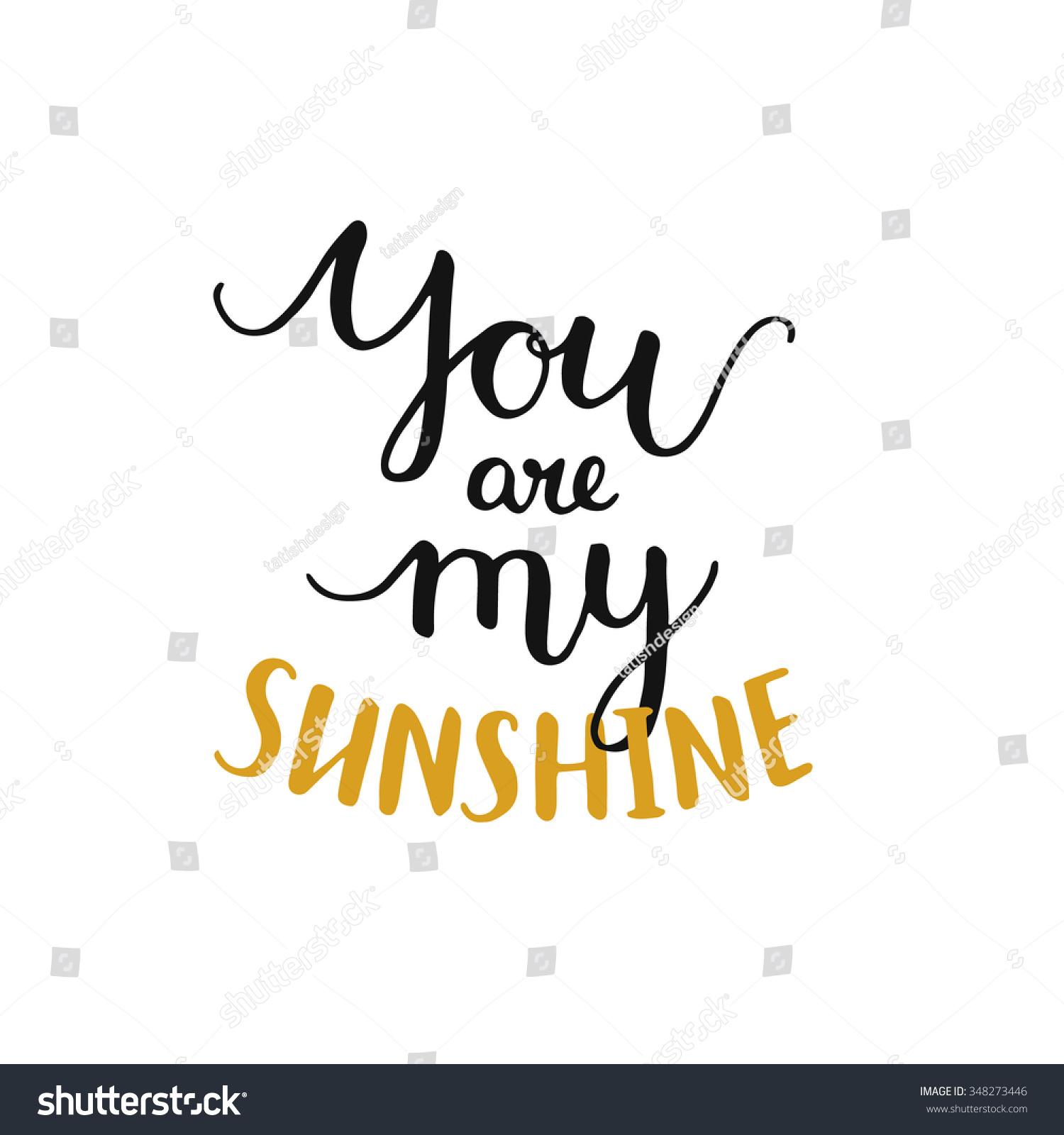 You my sunshine romantic card handdrawn stock vector