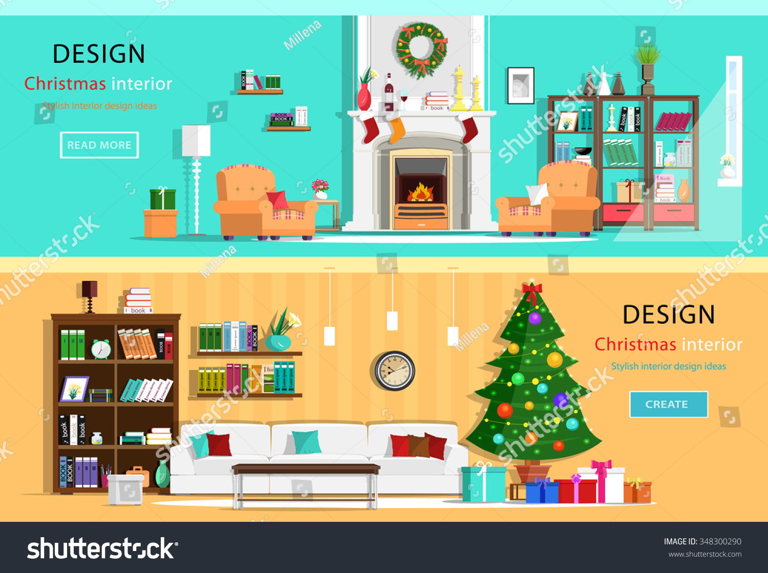 Set Of Colorful Holiday Interior Design In House Rooms With Furniture Icons Wreath Christmas