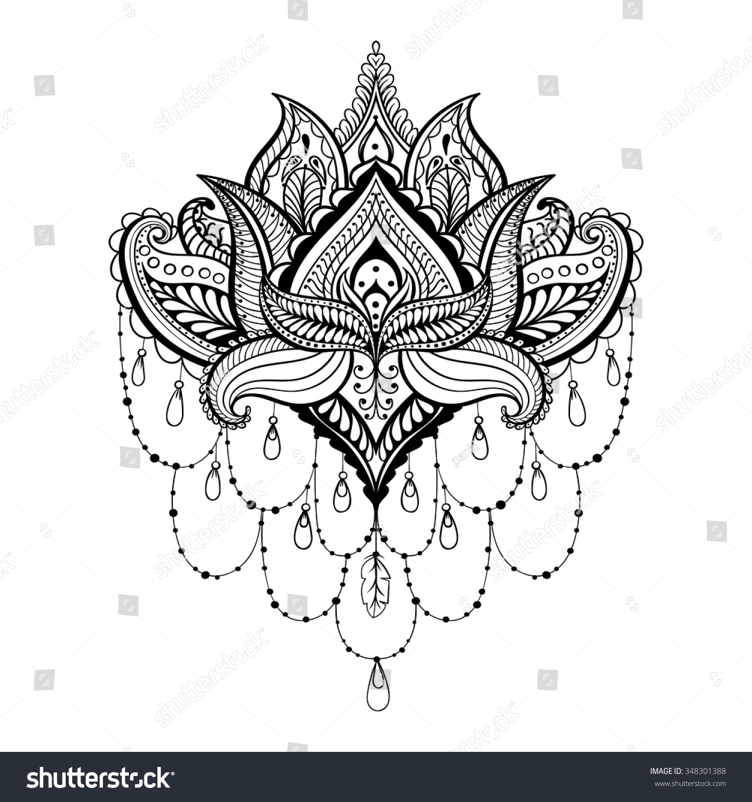 vector ornamental lotus ethnic zentangled henna stock vector