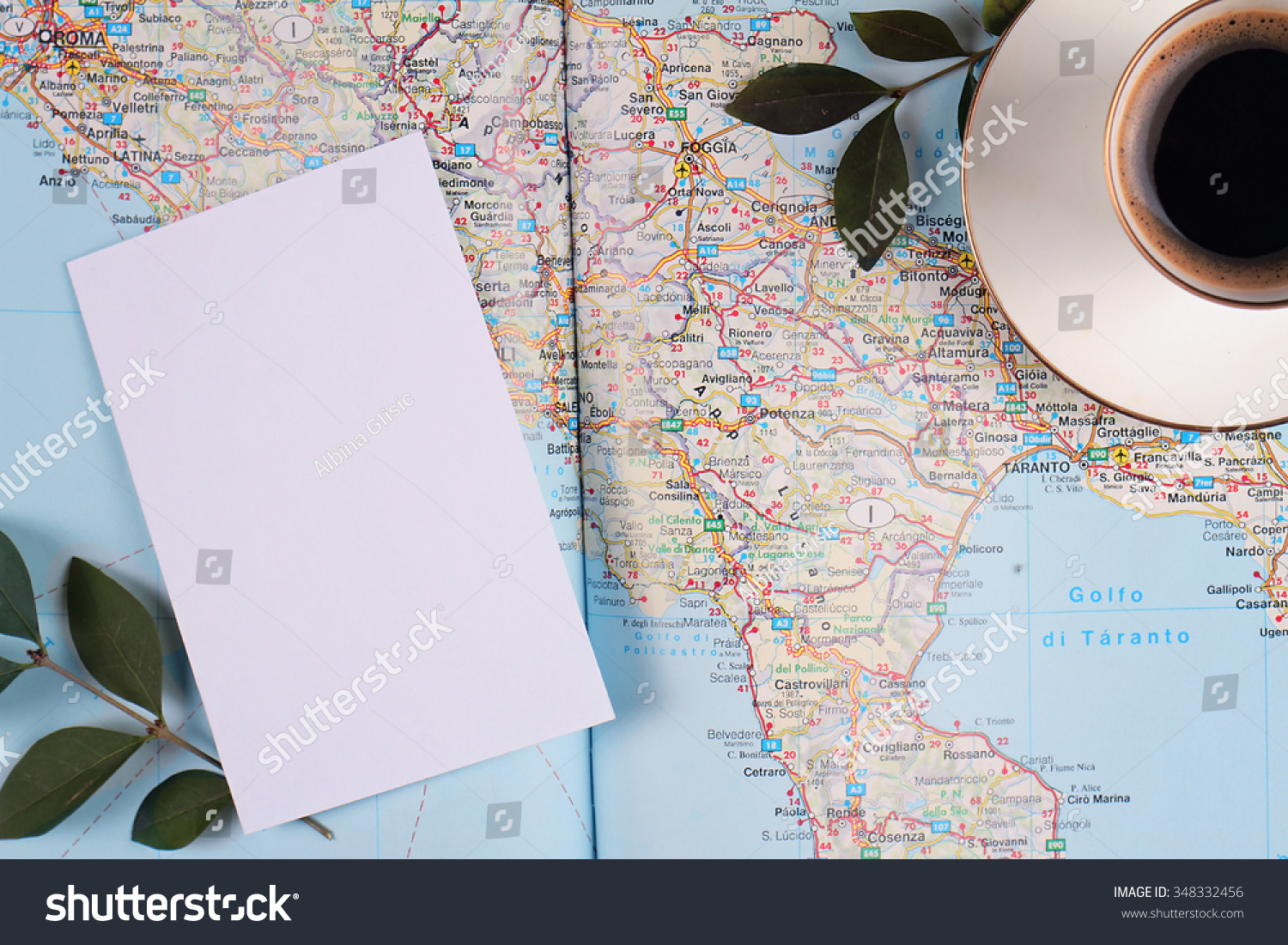Map Italy Cup Espresso Coffee Blank Stock Photo Edit Now 348332456