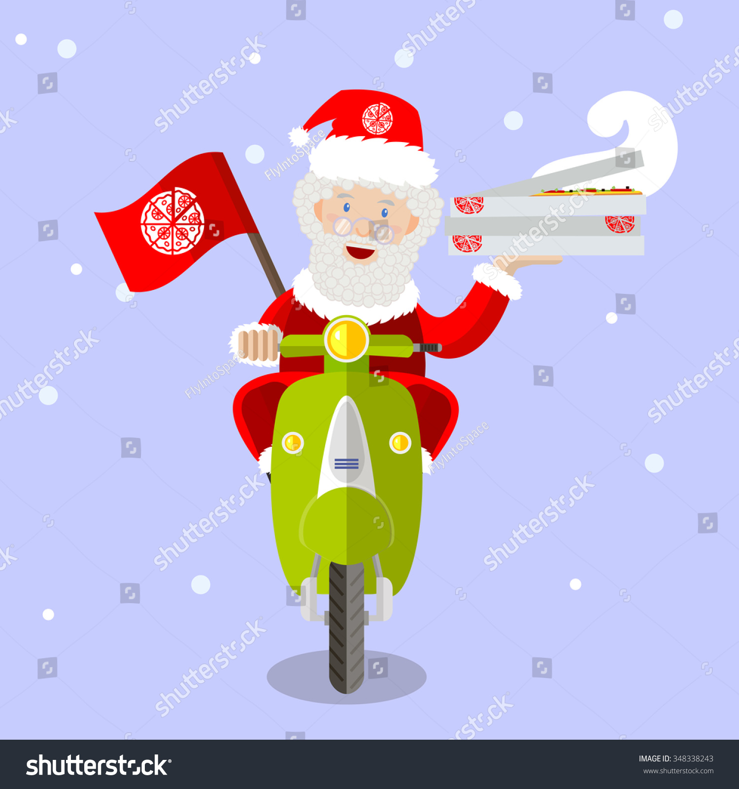 santa claus food delivery man on a scooter with boxes of pizza holiday christmas - Pizza Delivery On Christmas Day