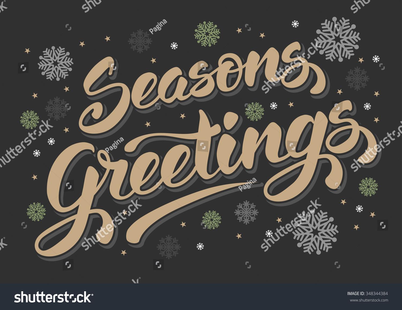 Seasons Greetings Vintage Card Winter Holidays Stock Vector Royalty