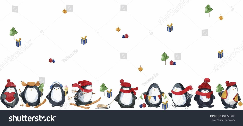 seamless watercolor patterncute little penguins preparing stock