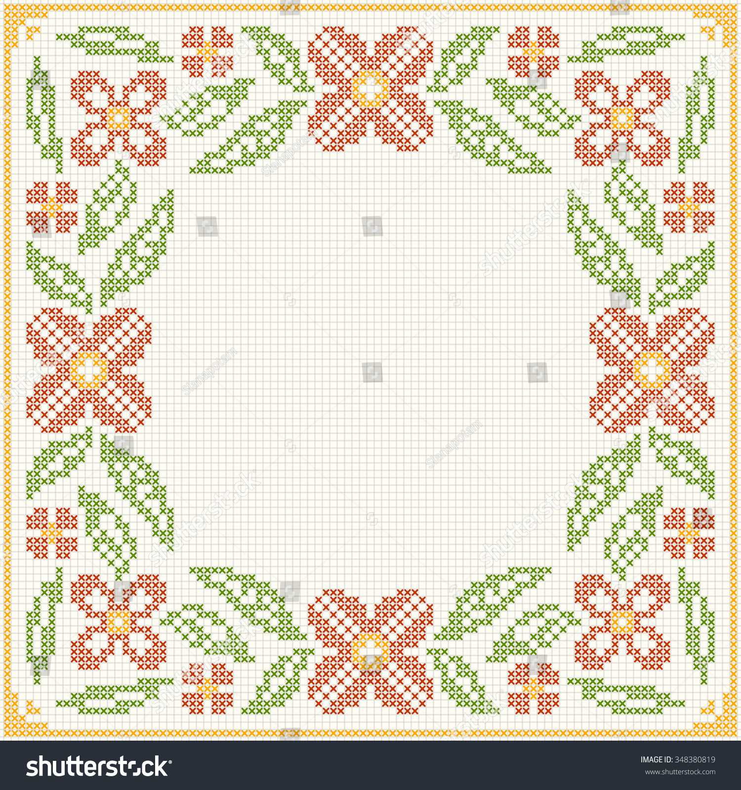Cross Stitch Flower Pattern Floral Frame Stock Vector 348380819 ...