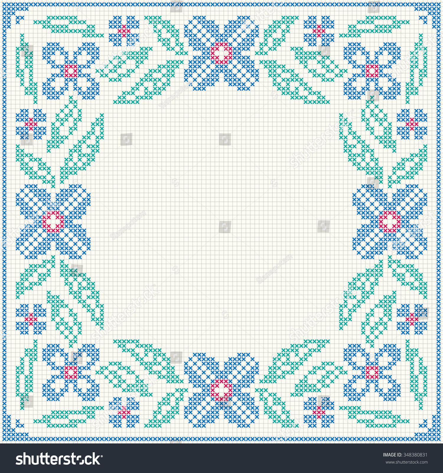 Cross Stitch Flower Pattern Floral Frame Stock-Vektorgrafik ...