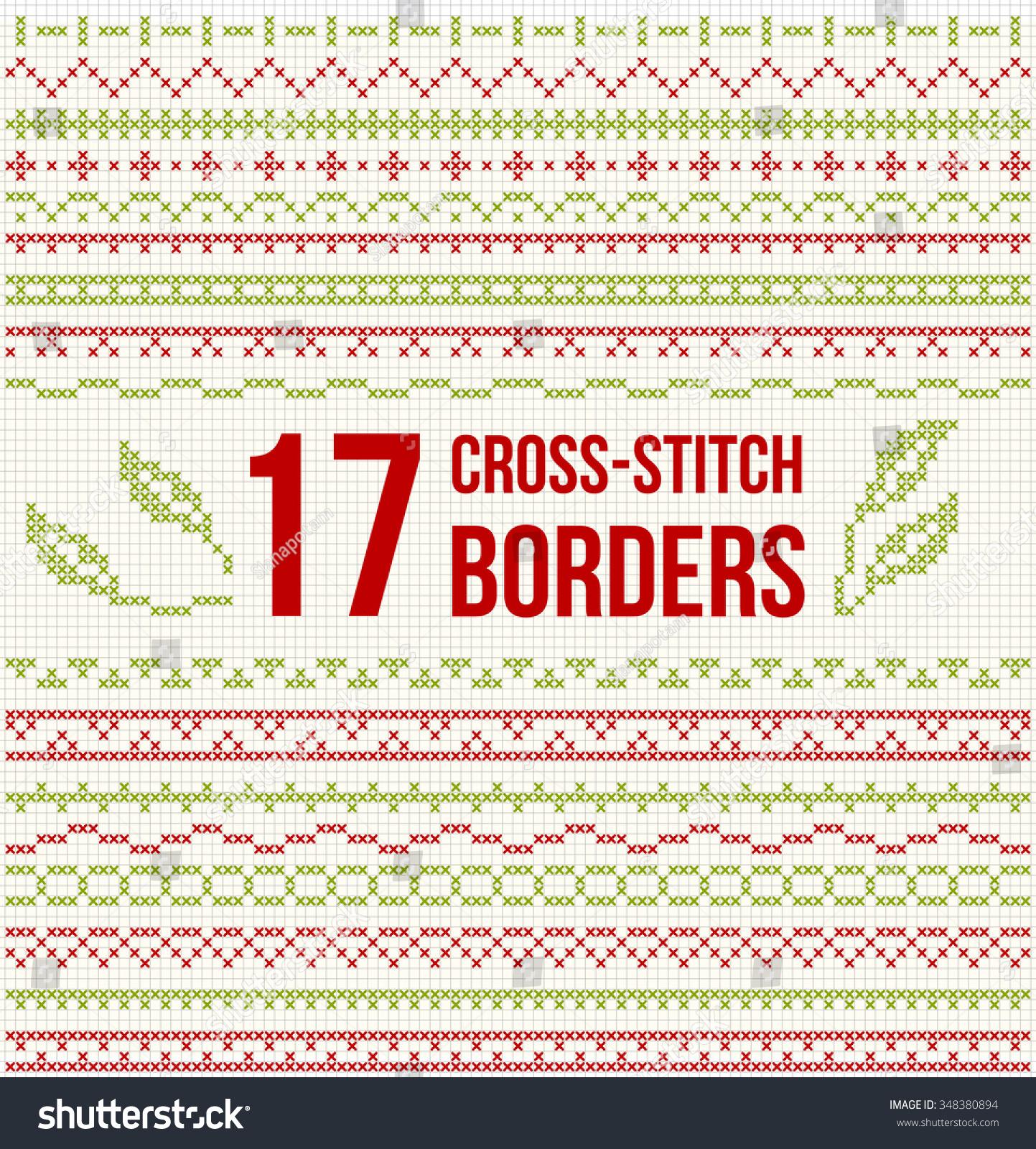Set Cross Stitch Pattern Thin Borders Stock Vector (Royalty Free ...
