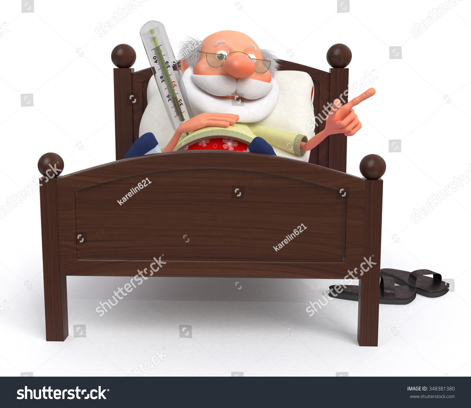 Incurably sick person lying on hospital stock illustration 348381380 incurably sick person lying on a hospital bed with a thermometer3d pensioner is ill altavistaventures Images