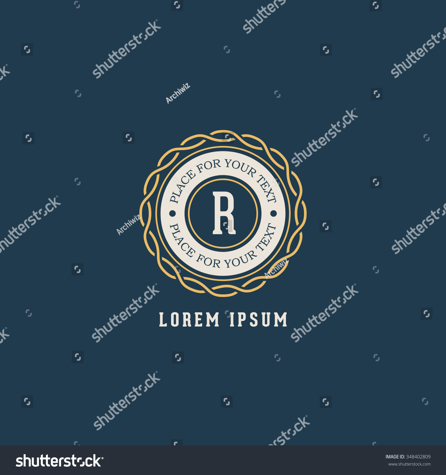 Vector Vintage Insignia Monogram Frame Label Stock Vector (Royalty ...