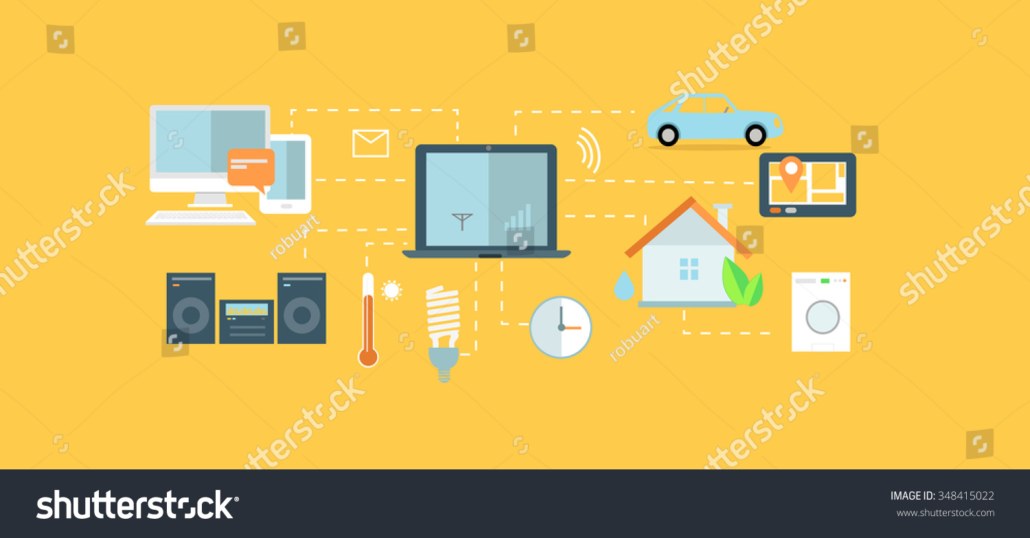 internet things icon flat design network stock illustration