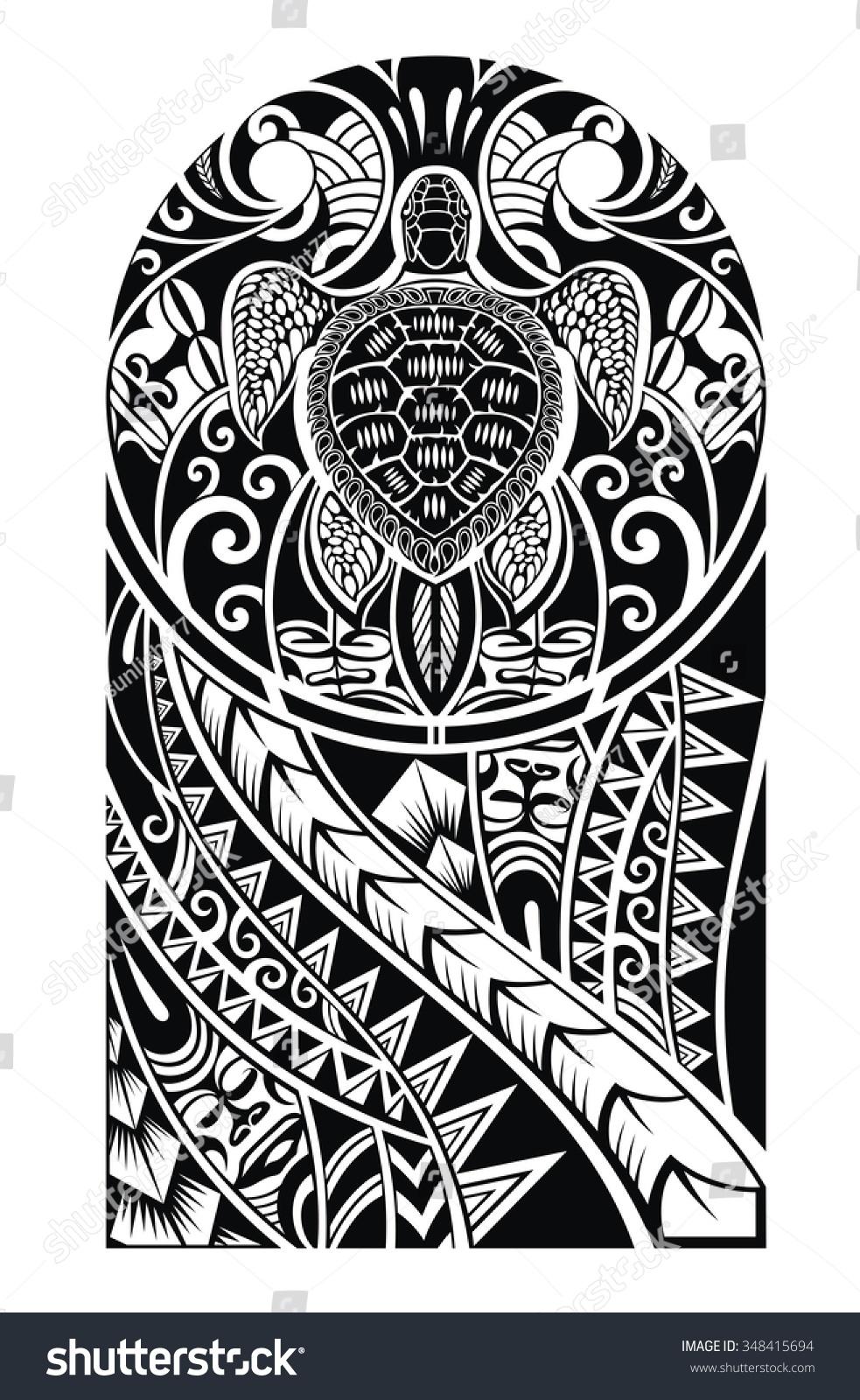 Traditional Maori Tattoo Design Turtle Stock Vector