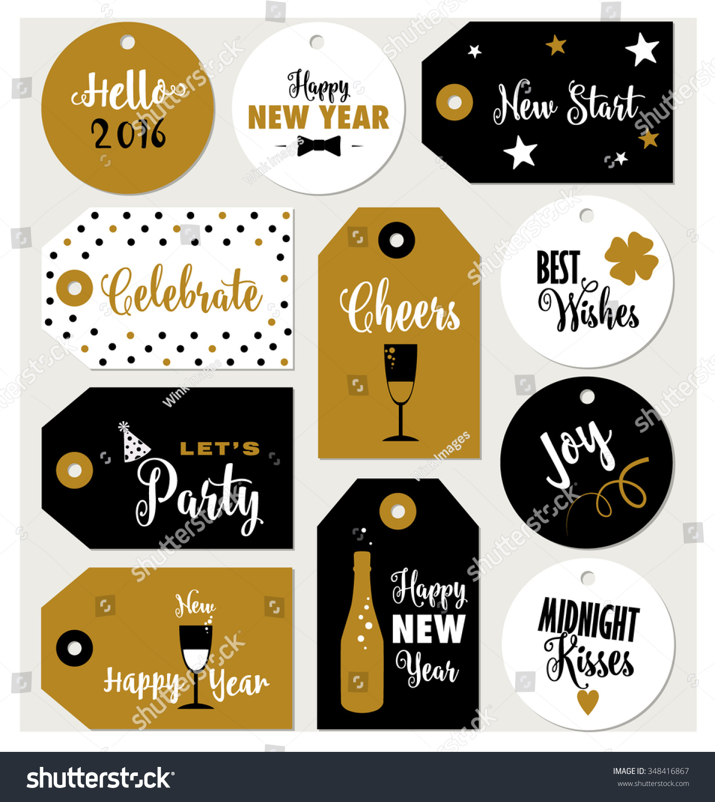 Set Of New Year Gift Tags Vector Template Hand Drawn: Set New Year Gift Tags Typographic Stock Vector 348416867