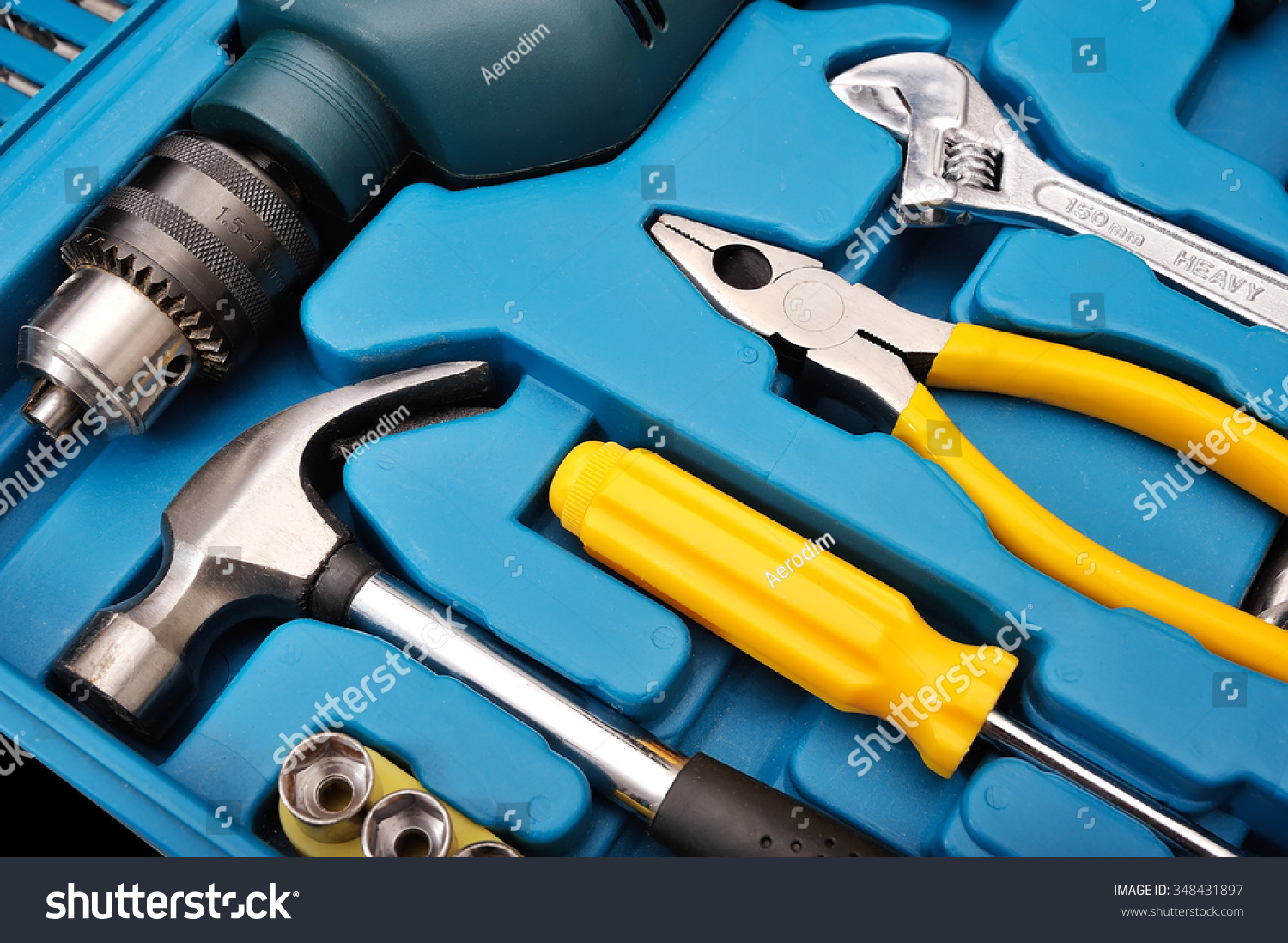 Set Universal Tools Pliers Drill Screwdriver Stock Photo (Edit Now ...
