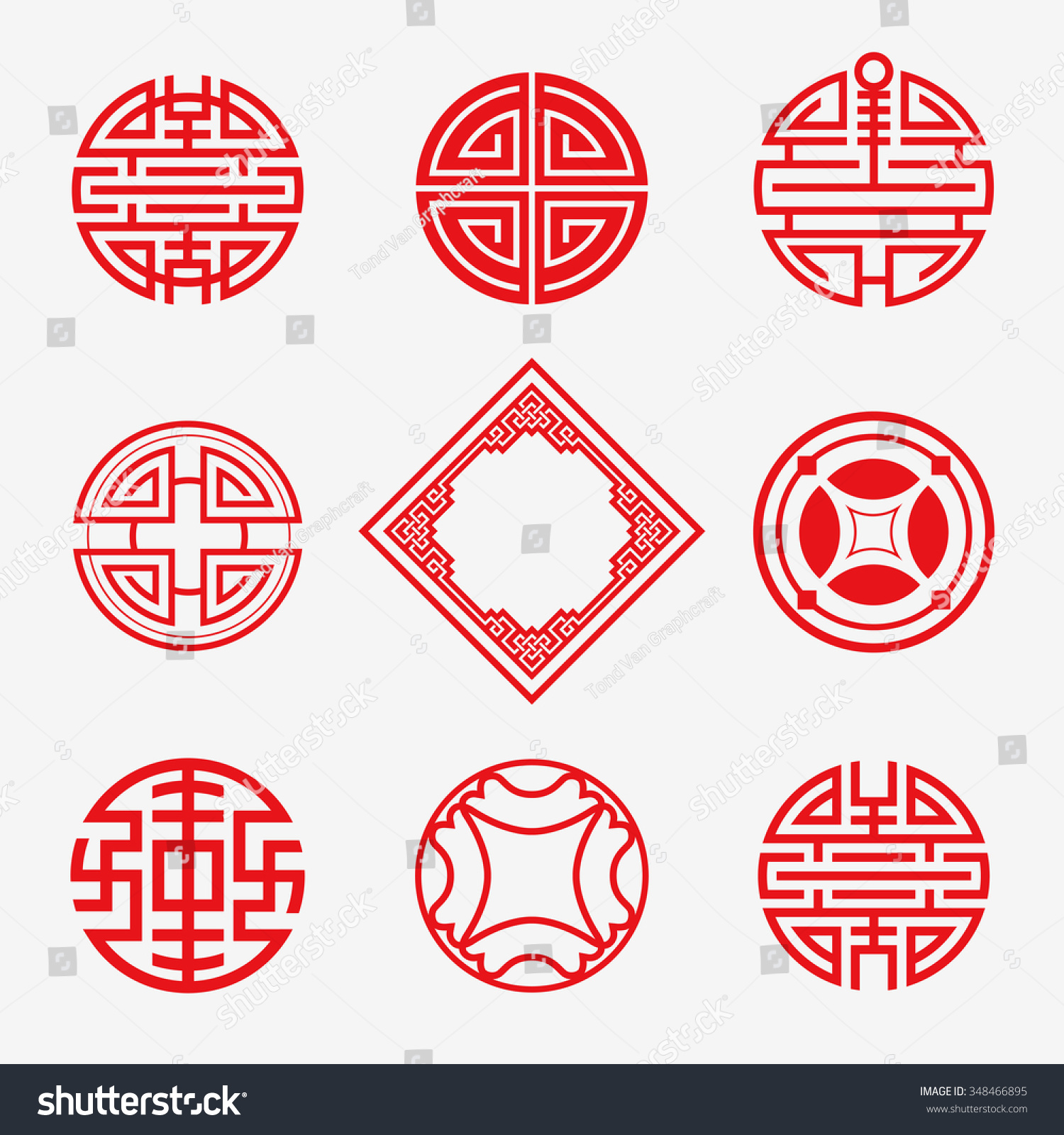 Set Simply Oriental Art Frame Border Stock Vector 348466895 ...