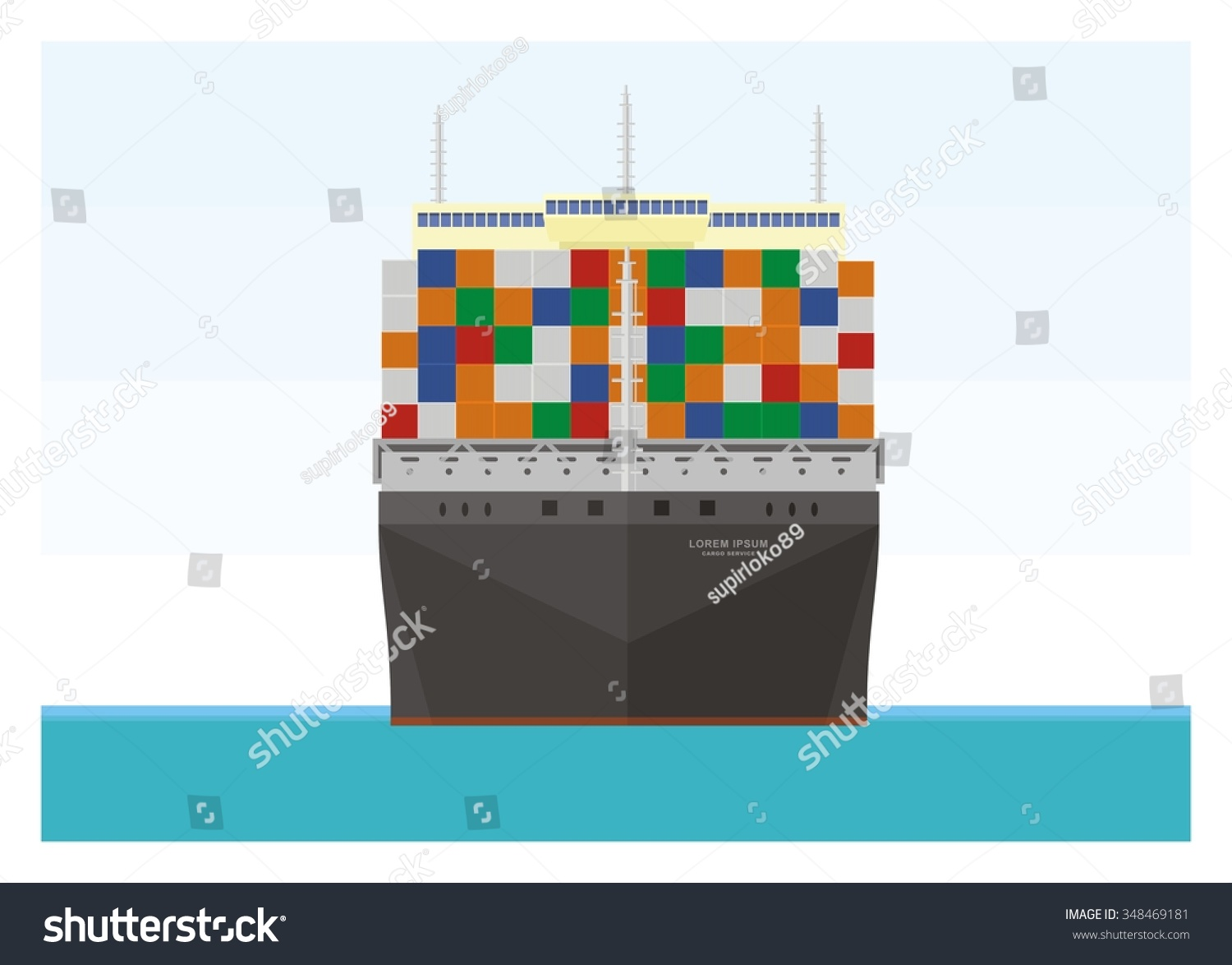 Container Ship, Front View Stock Vector Illustration ...