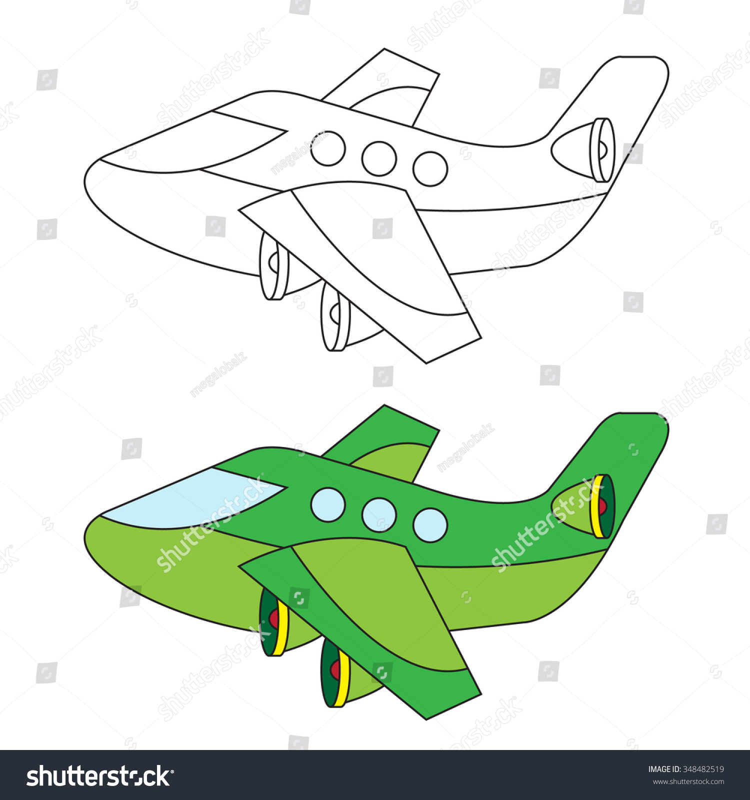 coloring airplane for beginner