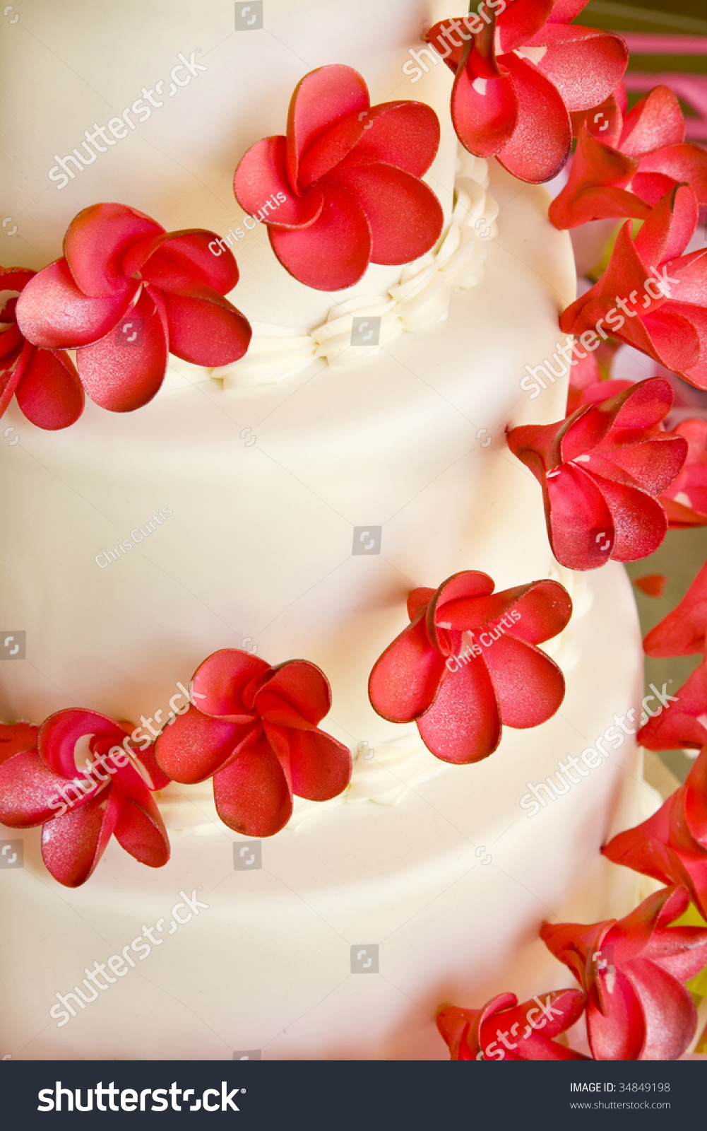 Closeup White Wedding Cake Red Flowers Stock Photo Edit Now